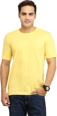 WallWest Solid Men's Round Neck Yellow T-Shirt