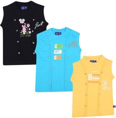 SPN Garments Printed Girl,s Round Neck Yellow, Blue, Black T-Shirt