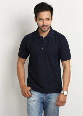 Larwa Solid Men's Polo Neck Dark Blue T-Shirt