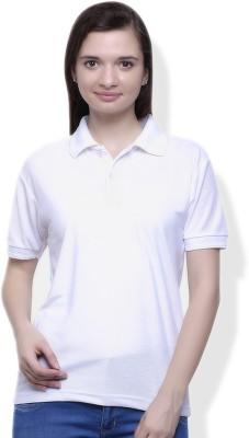 GOINDIASTORE Solid Women's Polo White T-Shirt