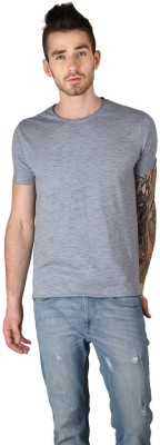 The Glu Affair Solid Men's Round Neck Blue T-Shirt