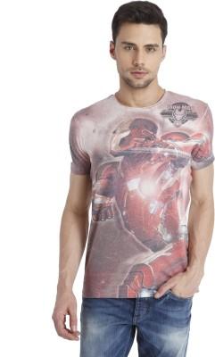 Jack & Jones Printed Men's Round Neck Maroon T-Shirt