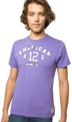 American Swan Self Design Men's Round Neck Purple T-Shirt