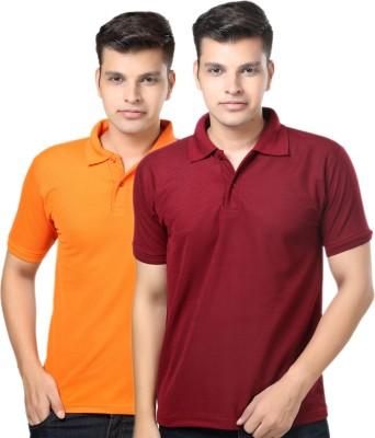 eSOUL Solid Men's Polo Neck Maroon, Orange T-Shirt