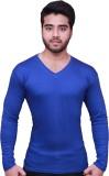 Himgiri Solid Men's V-neck Blue T-Shirt