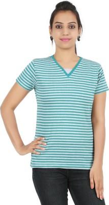 Recca Striped Women,s V-neck Green T-Shirt