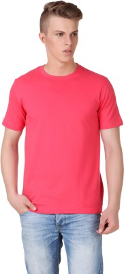 Aventura Outfitters Solid Men's Round Neck Pink T-Shirt