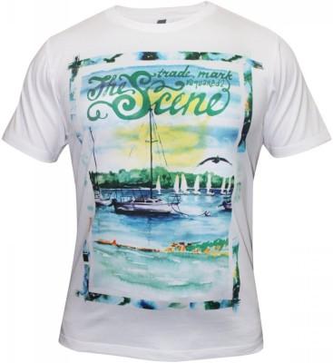 Hefty Graphic Print Men's Round Neck White T-Shirt