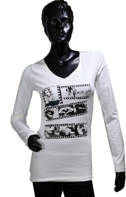 Starsy Printed Women's V-neck White T-Shirt