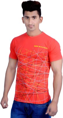 Parv Collections Printed Men's Round Neck Red T-Shirt