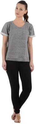 Urbanrebels Solid Women's Round Neck Grey T-Shirt