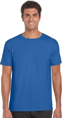 NUVA Solid Men's Round Neck Blue T-Shirt