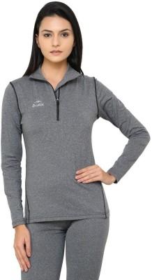 Dida Sportswear Solid Women's Polo Neck Grey, Black T-Shirt