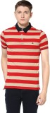 Turtle Striped Men's Polo Neck Red T-Shi...