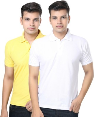 eSOUL Solid Men's Polo Neck White, Yellow T-Shirt