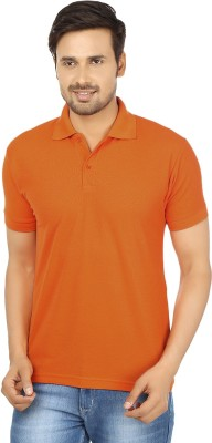 Forever19 Solid Men's Polo Neck Orange T-Shirt