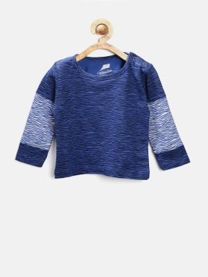 YK Printed Baby Boy's Round Neck Blue T-Shirt