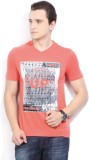 Celio Graphic Print Men's V-neck Pink T-...