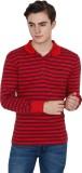 Yuvi Striped Men's Polo Neck Red T-Shirt