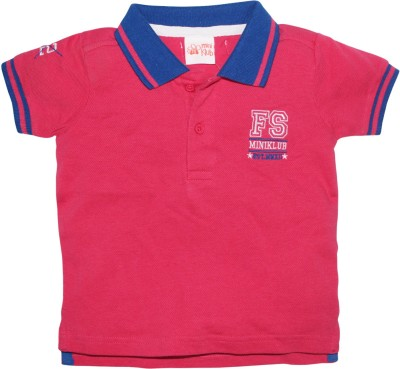FS Mini Klub Printed Boy's Polo Neck Pink T-Shirt
