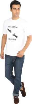 Crescent Printed Men's Round Neck White T-Shirt