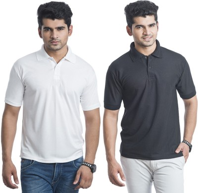 Bainsons Solid Men's Polo Black, White T-Shirt