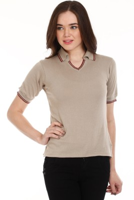 Mustard Solid Women's Polo Neck T-Shirt