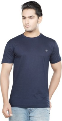 Afylish Solid Men's Round Neck Blue T-Shirt