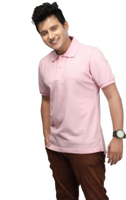 Happy Hippie Solid Men's Polo Pink T-Shirt