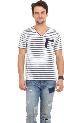 Northern Lights Striped Men's V-neck Blue, White T-Shirt