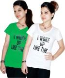 Xarans Printed Women's V-neck White, Gre...