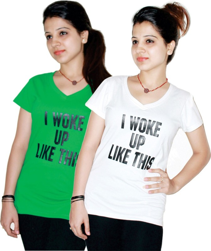 Xarans Printed Women's V-neck White, Green T-Shirt(Pack of 2)