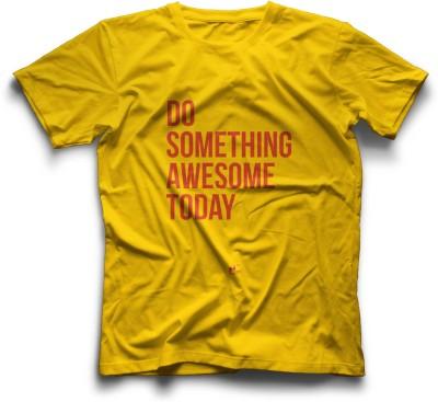 Thinkpop Printed Men's Round Neck Yellow, Red T-Shirt