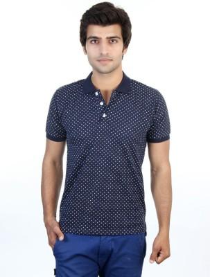 Shra Polka Print Men's Polo Blue T-Shirt