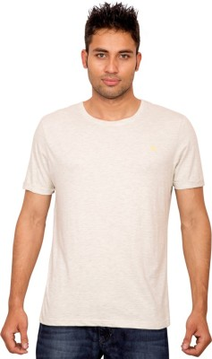 Forever Yoga Solid Men's Round Neck Beige T-Shirt