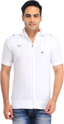 TEES COLLECTION Solid Men's Flap Collar Neck White T-Shirt