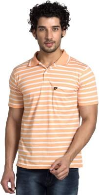 YOO Striped Men's Polo Neck Orange T-Shirt