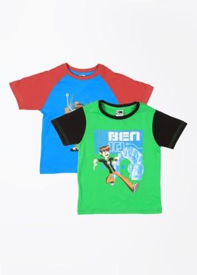 Cherish Printed Boy,s Round Neck Blue, Green T-Shirt
