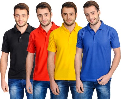 Superjoy Solid Men's Polo Neck Black, Red, Yellow, Blue T-Shirt