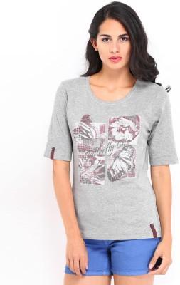 ESPRESSO Printed Women's Round Neck Grey T-Shirt
