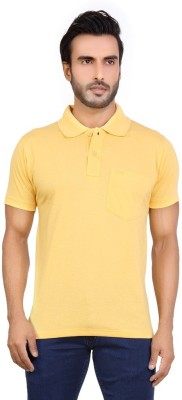 Awack Solid Men's Polo Neck Yellow T-Shirt