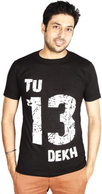 Sats Printed Men's Round Neck Black T-Shirt