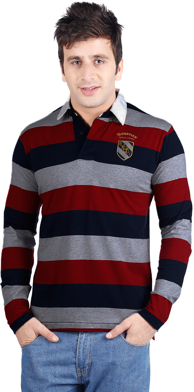 Van Heusen Sport Striped Mens Polo Neck Red, Grey, Blue T-Shirt