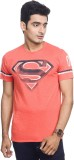 Superman Printed Men's Round Neck Orange...