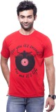 Koloured Printed Men's Round Neck Red T-...