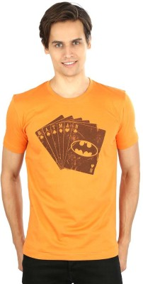 Planet Superheroes Graphic Print Men's Round Neck Orange T-Shirt