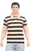 Zebu T Shirts (Men's) - Zebu Striped Men's Polo Neck Beige T-Shirt