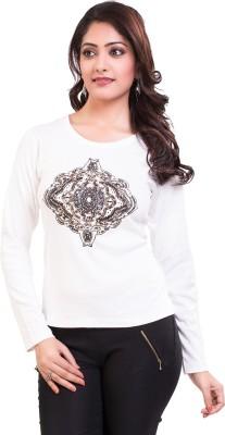 TVENO Self Design Women's Round Neck White T-Shirt