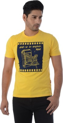 Integriti Printed Men's Round Neck Yellow T-Shirt