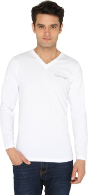 Chromozome Solid Men's V-neck White T-Shirt